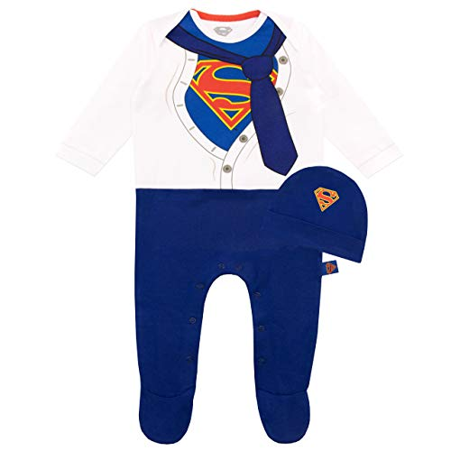 DC Comics Tutina da Notte e Cappello per Bambino Superman Blu 12 a 18 Mesi