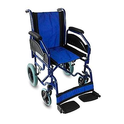 Silla de ruedas ortopédica, Plegable, para minusválidos, de Acero, freno en manetas, Reposapiés y Reposabrazos extraíbles, color Azul, asiento 45 cm, Ultraligera