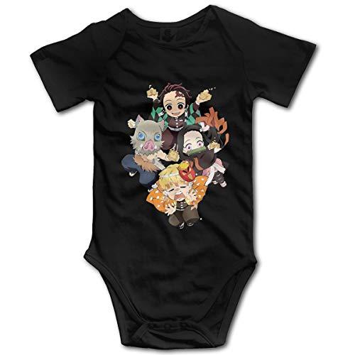 Demon Slayer Anime Unisex Baby Boy Girl Onesies Bodysuit Short Sleeve Jersey Bodysuit Jumpsuit Cotton T Shirt Black 6 Months