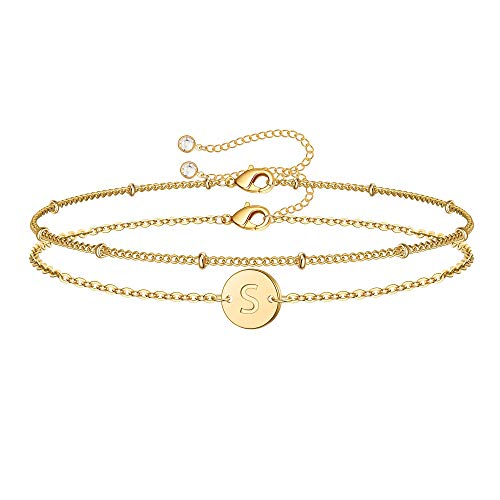 MONOZO Gold Initial Bracelets for Women, Dainty 14K Gold Filled Layered Beaded S Letter Initial Bracelet Personalized Alphabet Disc Monogram Charm Bracelet Jewelry Gifts for Girls