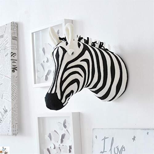NLRHH Soporte de pared con cabeza de animal en 3D, cebra, elefante, jirafa, juguetes de peluche para habitación de niños, decoración para colgar en la pared (color: cebra)