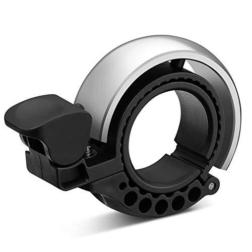 Malker Fahrradklingel,2020 Aluminiumlegierung O-Design Innovative Fahrrad Ring, klaren Sound Fahrradklingeln,ür Lenker von 22,2 bis 31.8mm(Silber)