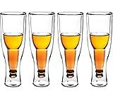 LEILEI Vasos de Cerveza de cristalería de 4 Piezas,Tazas de diseño Premium con Vaso de Cerveza de Doble Pared Aislado,Bebida Invertida de Regalo al revés para Bodas,Fiestas