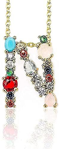 Aluyouqi Co.,ltd Collar Collar de Color Dorado con Colgante Inicial Collar de circón 26 Letras Nombre de Personalidad Accesorios de joyería para Mujeres Collar de Regalo de Novia para niñas y niños