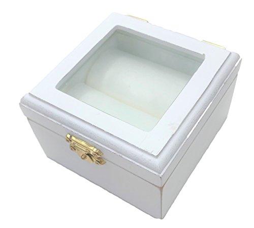 commercial Elegant flowers and things white wood ring box, glass window, engagement ring, engagement ring keepsake wedding ring