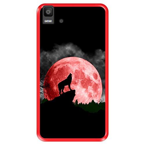 Hapdey Funda Roja para [ Bq Aquaris E5s - E5 4G ] diseño [ Luna roja, Lobo Aullando ] Carcasa Silicona Flexible TPU
