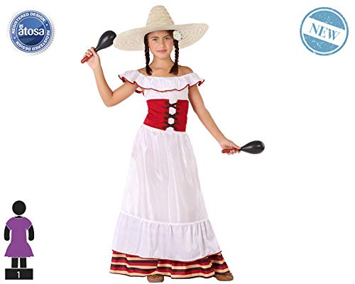 Atosa-60085 Atosa-60085-Disfraz Mejicana-Infantil Niña, Color blanco, 3 a 4 años (60085