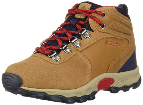 "Columbia unisex child Youth Newton Ridgeâ""¢ Suede Hiking Boot, Elk, Mountain Red, 7 Big Kid US"