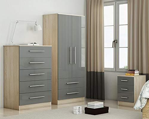 Grey Gloss Three Piece Bedroom F...