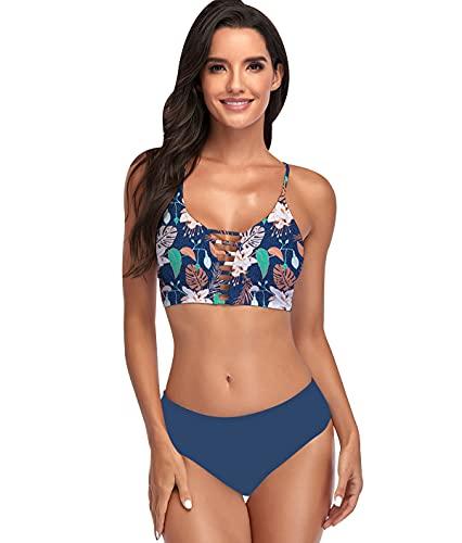 Bikinis Leopardo Talle Alto Mujer Push Up Bañadores Mujer Bañador Natacion Mujer Tankini Conjunto Bikini Flores Bandeau Cintura Alta Talle Grande Trikini Swimwear Women Traje de Baño Mujer Azul 2XL