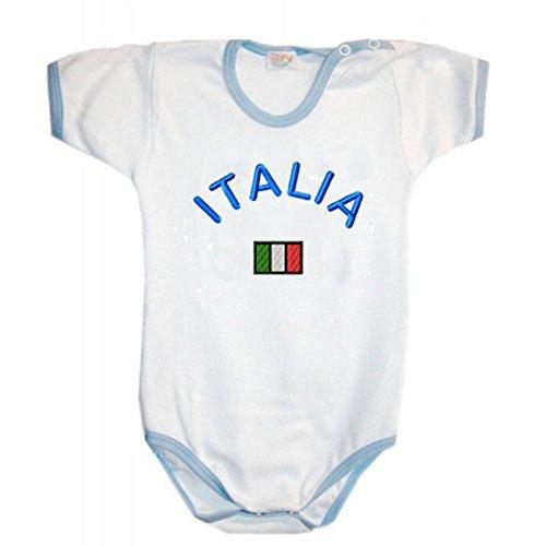Zigozago - Body Bèbè à Manches Courtes pour bébé avec Broderie Italie Taille: 3-6 Mois - Couleur: Bleu - 100% Coton