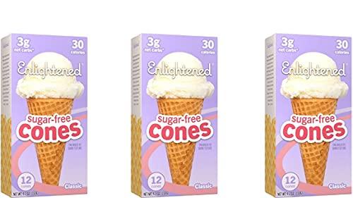 ENLIGHTENED ICE CREAM Sugar-Free Ice Cream Cones - Vegan Friendly, Sugar Free, Dairy Free - Low Calorie (30 Calories) - Low Carb (Net 3g) - 12pk (3-Pack)