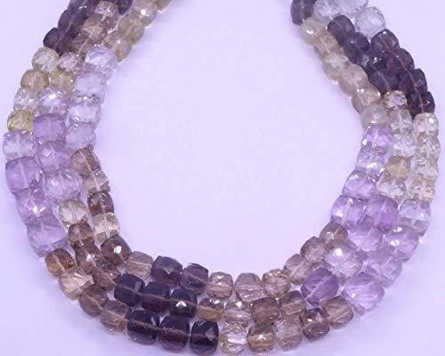 Shree_Narayani Cuentas sueltas de piedras finas de alta calidad con micro facetado cubo de 6 mm 13 pulgadas para hacer joyas DIY manualidades encantos collar pulsera pendiente 1 hebra
