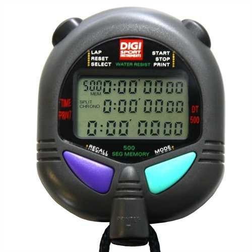 DIGI Stoppuhr PC-110 (500 File Memory Speicher | Schlagzahl- & km/h | Uhrzeit & Datum | Dualtimer) - Digital Profi Stoppuhr mit Druckpunktmechanik