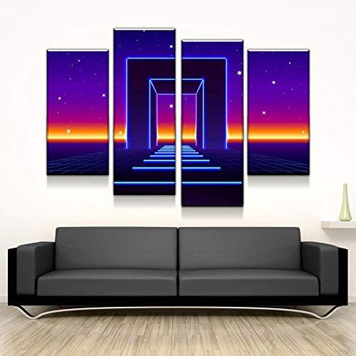 KOPASD Bilder 80 * 60cm Vlies Kunstdruck 4 Leinwandbilder Modern Wanddekoration Bilder Galactics Gate. Poster Design Wand Bild Print Modular Artwork