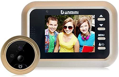 Timbre inalámbrico, Video Doorbell, Viewer Digital Viewer Peephole Cámara, WiFi Smart Home, 2.4 HD Monitor LCD electrónico, seguridad en el hogar, 160 grados de gran angular, monitoreo, alarma antirro