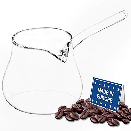 Classics Turkish Coffee Pot Borosilicate Glass, Stovetop Tea Maker, Jazzva Cezve Briki, Healthy and Extremely Heat Resistant Milk Warmer, Hot Chocolate Maker, Butter Melting Pot