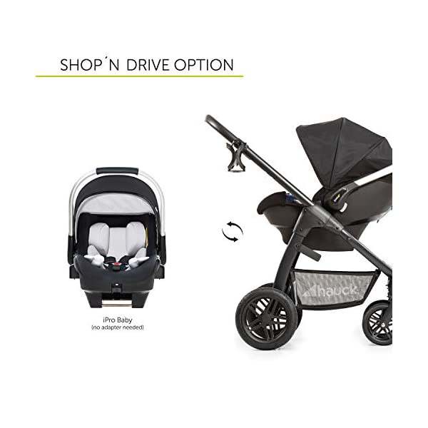 Hauck Hauck Unisex Promenade Chaises Black/Grey Hauck Maximum comfort: backrest and footrest adjustable to the lying position, extra large canopy, height adjustable handlebars, cup holders and foot covers All terrain: the stroller is suitable for both the city and the countryside thanks to the suspension, the high-quality rubber profile and the swivel and lockable front wheels. Swivel: The lightweight sports chair with removable front bar can be rotated towards parents or in moving direction easily in a few seconds. The chair supports a weight of up to 25 kg. 5