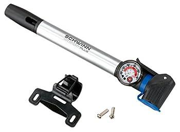 Schwinn Air Sport Bike Frame Pump with Gauge Fits Schrader and Presta Valve Types Silver