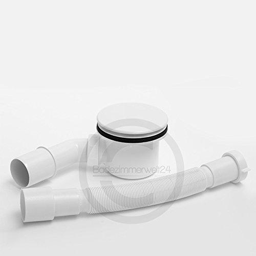 AQUABAD® Ablaufgarnitur Set Standard ABS Weiss inkl. Ø90mm Siphon, Ablaufbogen und Flexanschluss