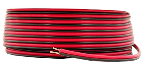 GS Power 100% Copper 24 AWG (American Wire Gauge) 50 ft Red & 50 ft Black Bonded Zip Cord Cable for Car Audio Stereo LED Light 12Volt Automotive Harness Wiring. Also in 100 & 200 Feet Roll