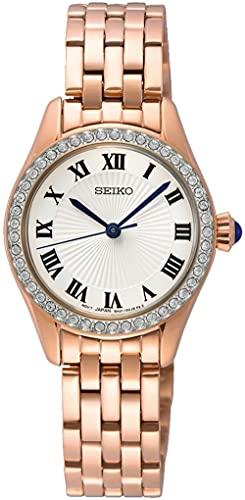 Seiko Reloj clásico de cuarzo con esfera blanca SUR338