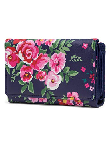 Mundi Small Womens RFID Blocking Wallet Compact Trifold Safe Protection Clutch With Change Purse (Royal Floral)