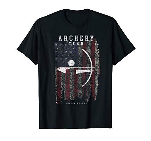 Archery Team USA Vintage American Flag Compound Bow Arrow T-Shirt