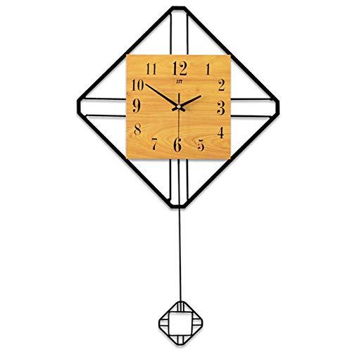 Wanduhr Nordische Schaukel Quadratische Holzwanduhr Studie Tv Hintergrund Home Wanddekoration Horologe Einfache Europäische Uhren