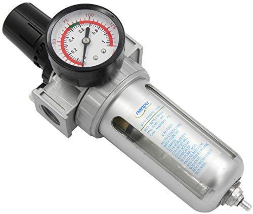 NANPU 1/2' NPT Compressed Air Filter Regulator Combo, Air Filter Pressure Regulator Gauge Kit Water Separator w/Pressure Gauge, 150PSI