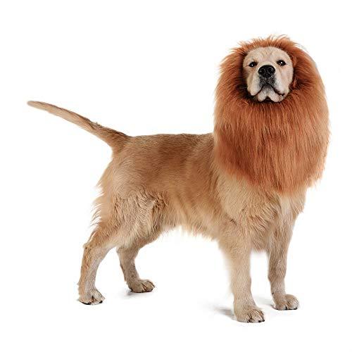 Camidy Peluca de Melena de Perro Peluca de León con Oreja Y Correa Ajustable para El Elegante Vestido de Fiesta de Halloween Peluca de León para Perros de Gran Tamaño