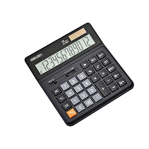 ZJH Calculadora básica Calculadora Batería Solar de 12 dígitos Batería Solar Potencia Dual con Pantalla LCD...