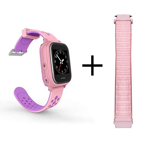 ANIO4 Touch GPS Uhr für Kinder mit 2 Armbändern, Smartwatch mit Touchscreen, Schrittzähler, Telefonfunktion, Lokalisierung & SOS Notruf, wasserdicht. Deutsche Anio Server & App! Rosa