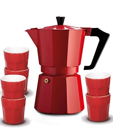 Pezzetti Italexpress 6 Cup Set Red Stove Top Coffee Maker, Red, CLP6R
