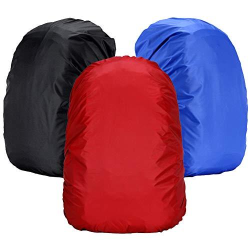 WENTS 3PCS Cubierta Impermeable para Mochila Fundas Mochila Impermeable 18-25L Nylon Mochila Protector De Lluvia Impermeable para Escalada Senderismo(Negro/Rojo/Azul)