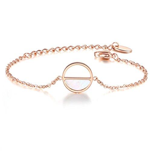 URBANHELDEN - Edelstahl Armband mit rundem Perlmutt Anhänger - Edelstahlarmband Kreis - Armband - Damenarmband Schmuck - Rosegold
