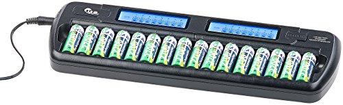 tka Köbele Akkutechnik Akkulader: Ladegerät für 16 AA(A)-Akkus, 2 LCD-Displays, Einzelschacht-überwacht (Ladegerät Mignon)