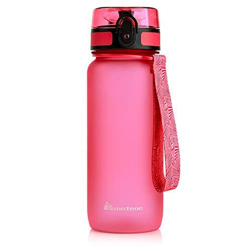 meteor Trinkflasche Kinder Auslaufsicher Wasserflasche Schule Kindergarten Sportflasche Herren Fruchteinsatz flasche Frucht Bottle Wasserdurchfluss Kinderflasche Camping Wasserflasche (650ML, Rosa)