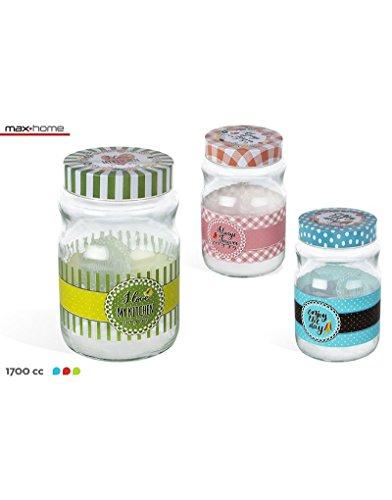 Hogar y Más - Tarro de Cristal práctico y Divertido Decorado con Frase motivadora Set de 3 Fashion Kitchen
