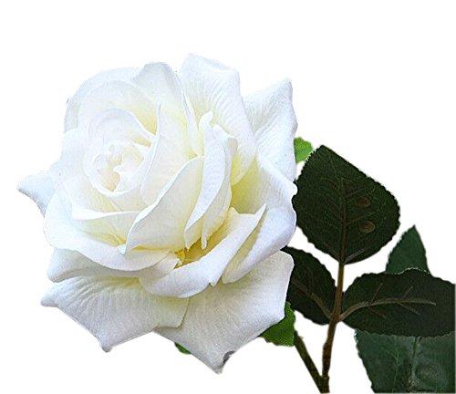 4 pcs Tissu Blanc Pétale Plastique Vert feuille artificielle Blanc Rose pour la décoration