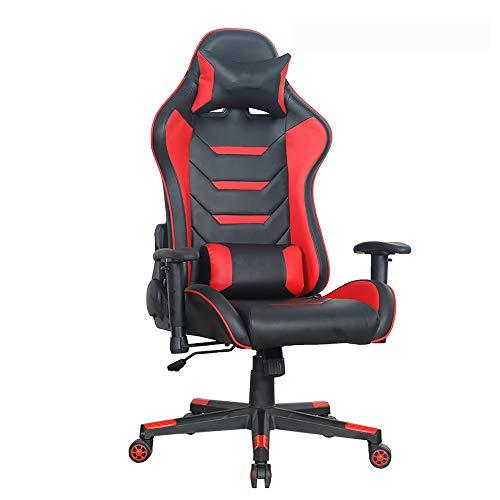 VBARV Silla para Juegos Racing Style, sillón reclinable ergonómico de Oficina Giratorio con Respaldo Alto, Respaldo y Altura del Asiento Ajustables, con reposapiés, Soporte Lumbar, reposacabezas