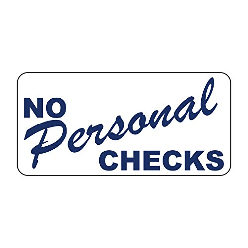 No Personal Checks Blue Retro Vintage Style Sign with HolesVinyl Sticker Decal 8