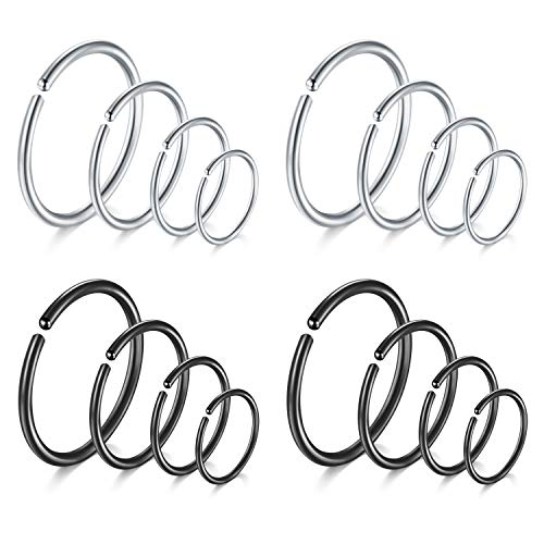 JFORYOU 16PCS 20G Stainless Steel Fake Hoop Nose Rings for Women Men Nose Hoop Ring Ear Piercing Body Jewelry 6mm 8mm 10mm 12mm