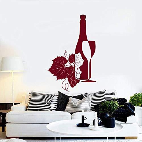 Mrlwy Etiqueta de la pared Botella de vino Copa de vino Bodega Vendedor de uvas Decoración Restaurante Cocina Decoración del hogar Vinilo Etiqueta de la pared Mural 42x65cm