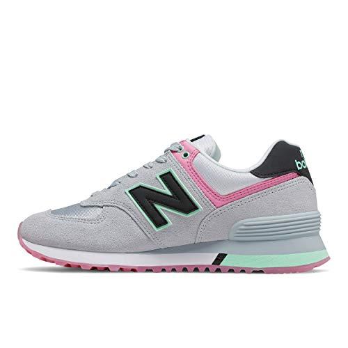 New Balance Damen WL574 B Sneaker, Grau (Grey/Pink Sat), 40 EU
