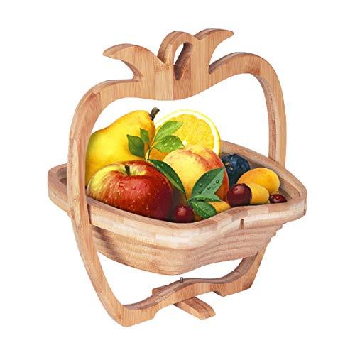 Barrageon Cesta Frutas Bambú Frutero Plegable Madera Fruta Cuenco Huevo Pan de...