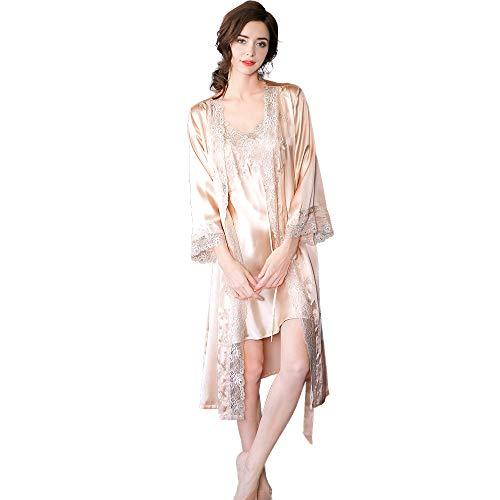 LEIQIA 100% Seda Batas Mujer Sexy Encaje Conjuntos Mujer Camisón Lencería Pijama de Seda Cuello V Ropa Dormir Champagne XS