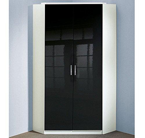 lifestyle4living Eckkleiderschrank in weiß, 2 Falttüren schwarz Hochglanz | Schlafzimmerschrank | Jugendzimmerschrank | Eckschrank