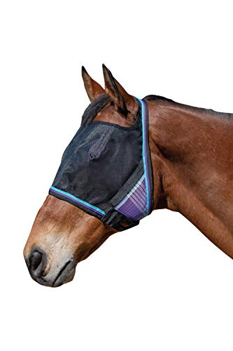 Kensington UViator Protective Fly Mask — Newest UV Solar Screen Protection with a 90% UV Rating — Double Locking CatchMask Fasteners — Non Heat Transferring Fabric (Lavender Mint, Large)