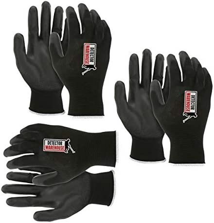 Black Gloves Perfect for Metal Detecting Large Tear Resistant 3 PACK product image